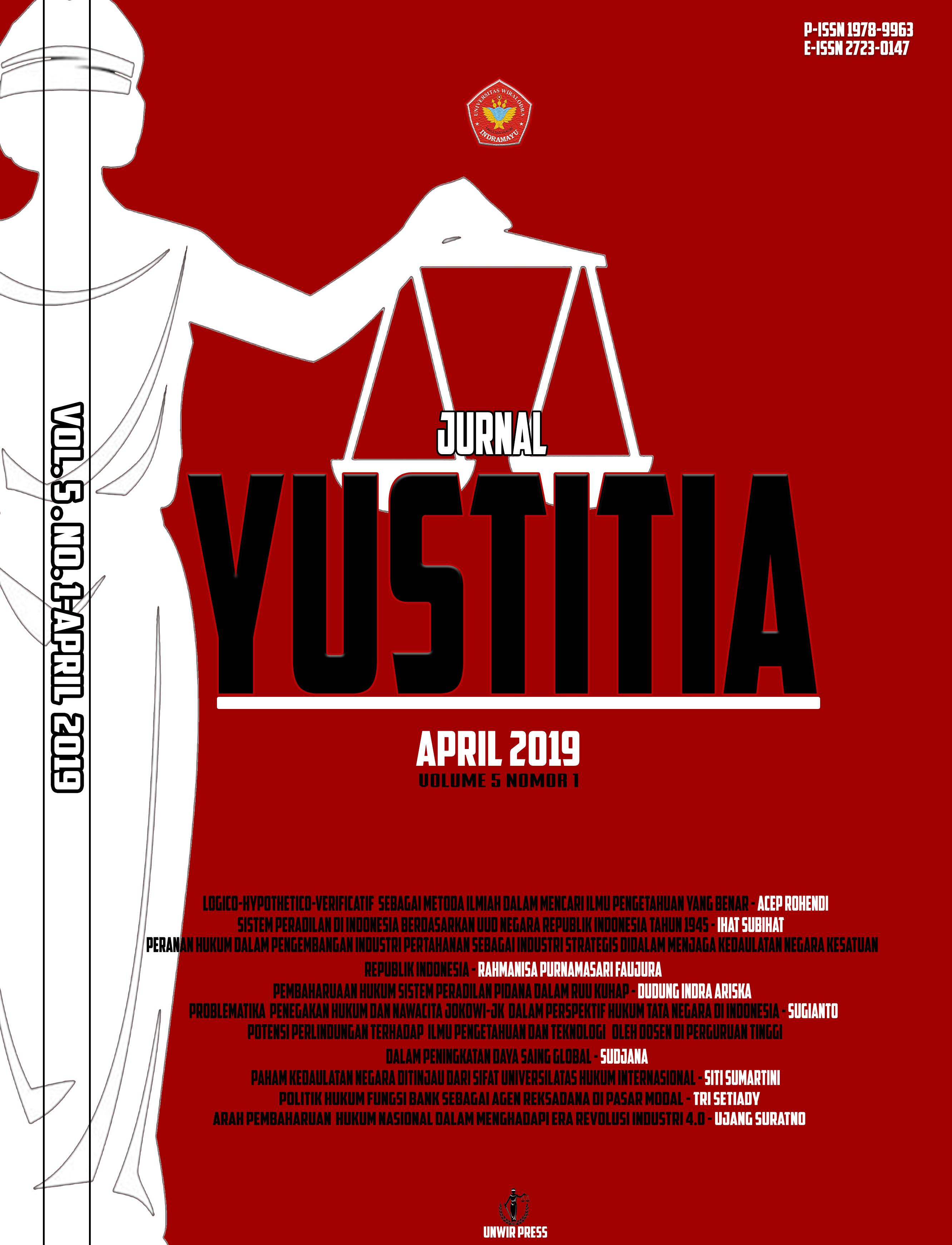 JURNAL YUSTITIA FAKULTAS HUKUM UNWIR